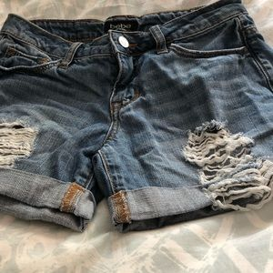 Bebe Jean Destroyed Shorts